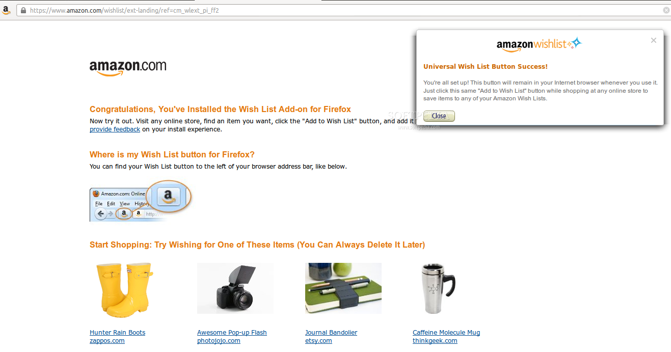 "Amazon ""Add to Wish List"" Button screenshot 1"