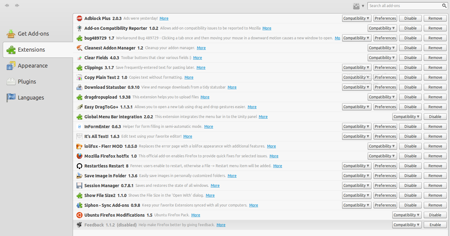 Cleanest Addon Manager for Firefox screenshot 1