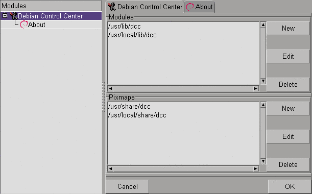 Debian Control Center screenshot 1