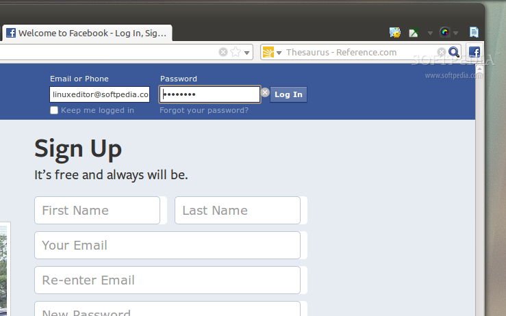 Facebook Toolbar Button for Firefox screenshot 1