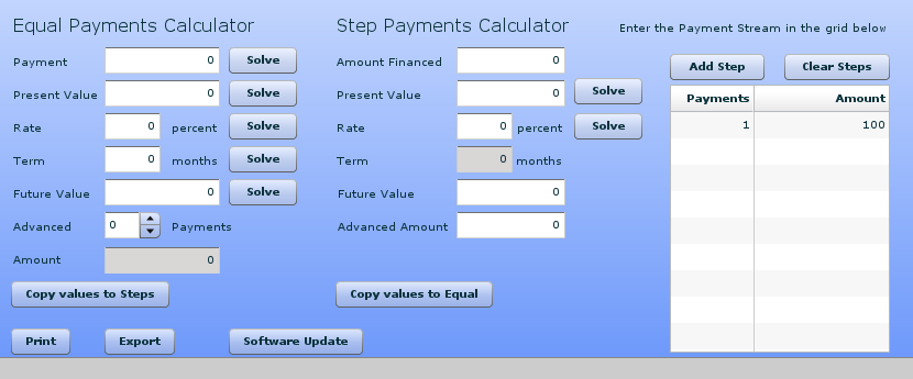 Financial calculator is an adobe air that has the following features
