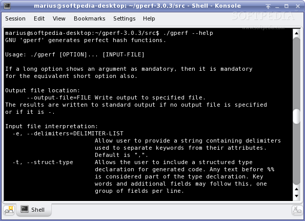 GNU gperf screenshot 1