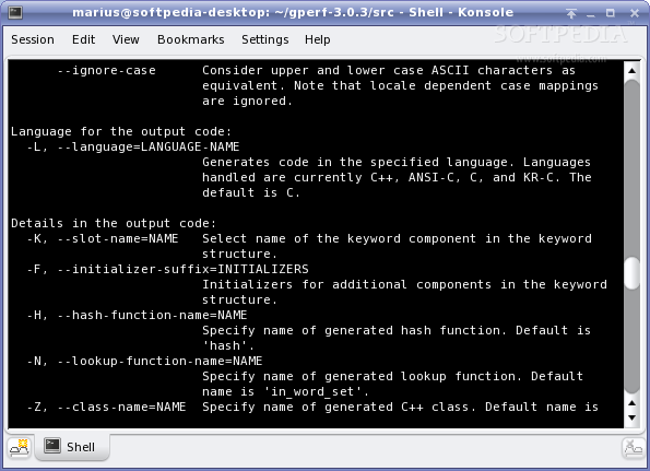 GNU gperf screenshot 2