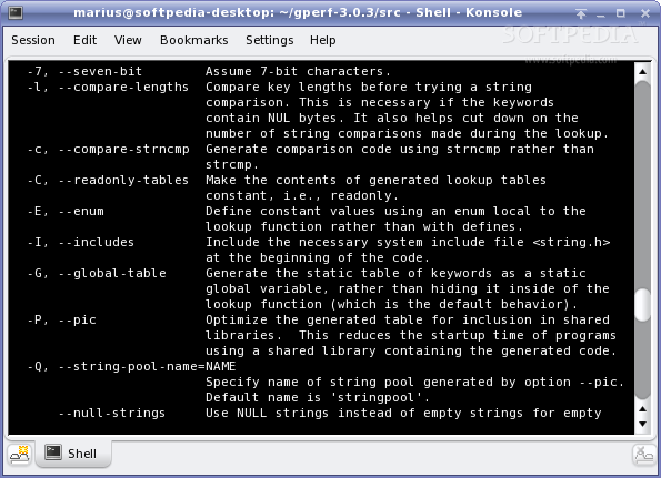 GNU gperf screenshot 3