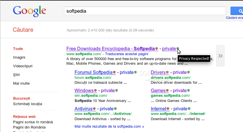 Google Privacy for Firefox screenshot 1