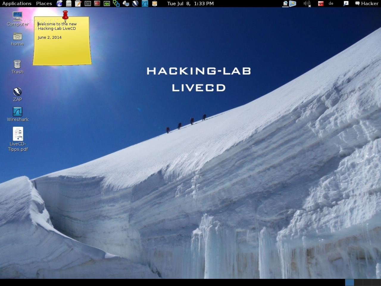 Hacking-Lab LiveCD - The desktop environment of the Hacking-Lab LiveCD oper