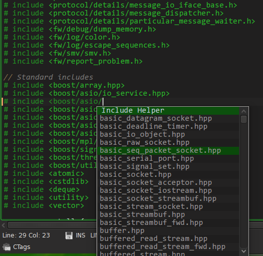 Kate C++ Helper Plugin screenshot 2