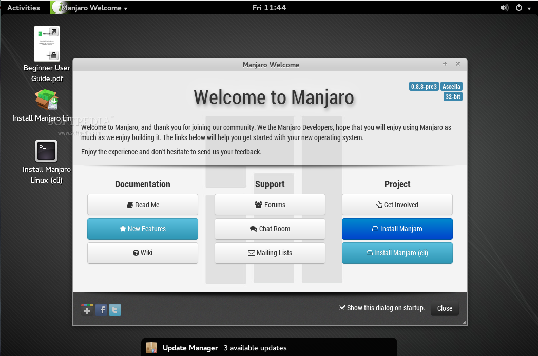 how to get manjaro gnome dock bottom