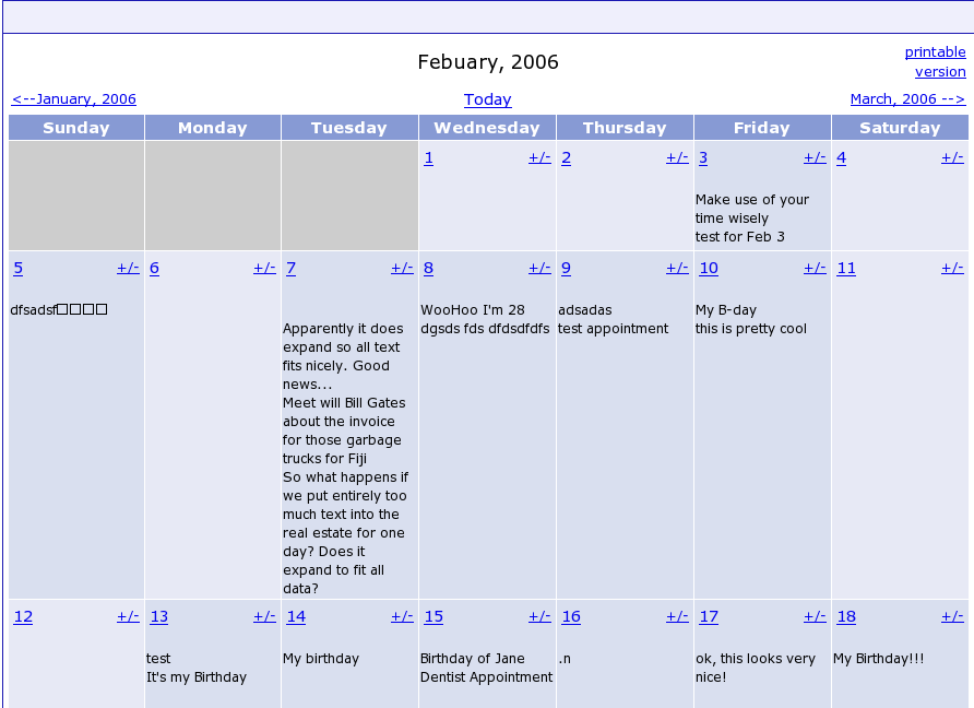 My Calendar screenshot 1