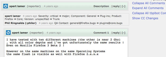 Nicer Bugzilla Comments screenshot 1