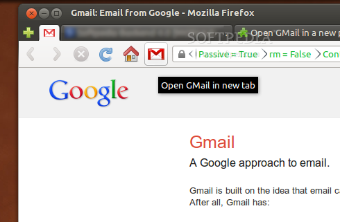 Open GMail in a new pinned tab toolbar button screenshot 1
