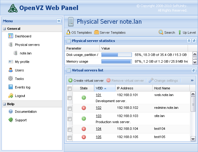 OpenVZ Web Panel screenshot 1