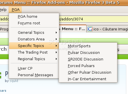 PGA Forums Menu screenshot 2