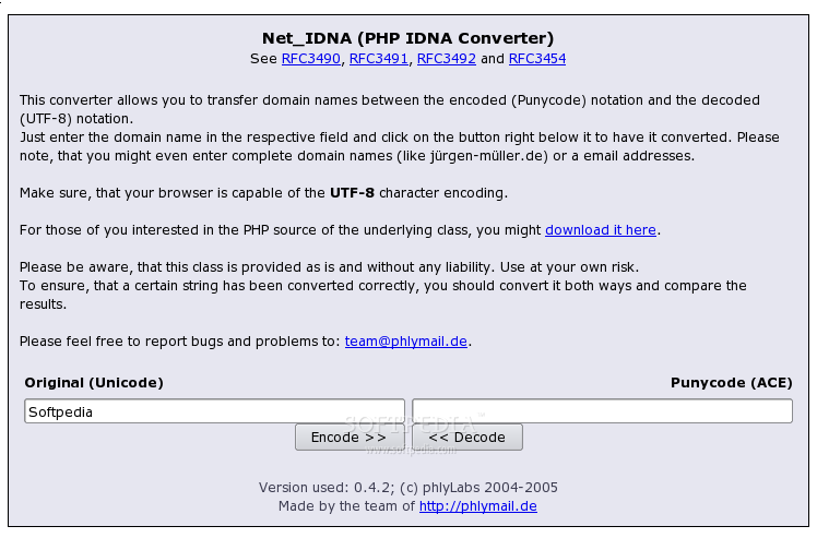 PHP Net_IDNA screenshot 1