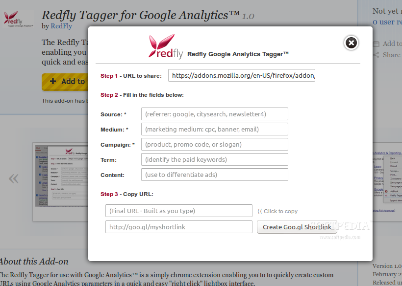 Redfly Tagger for Google Analytics for Firefox screenshot 2
