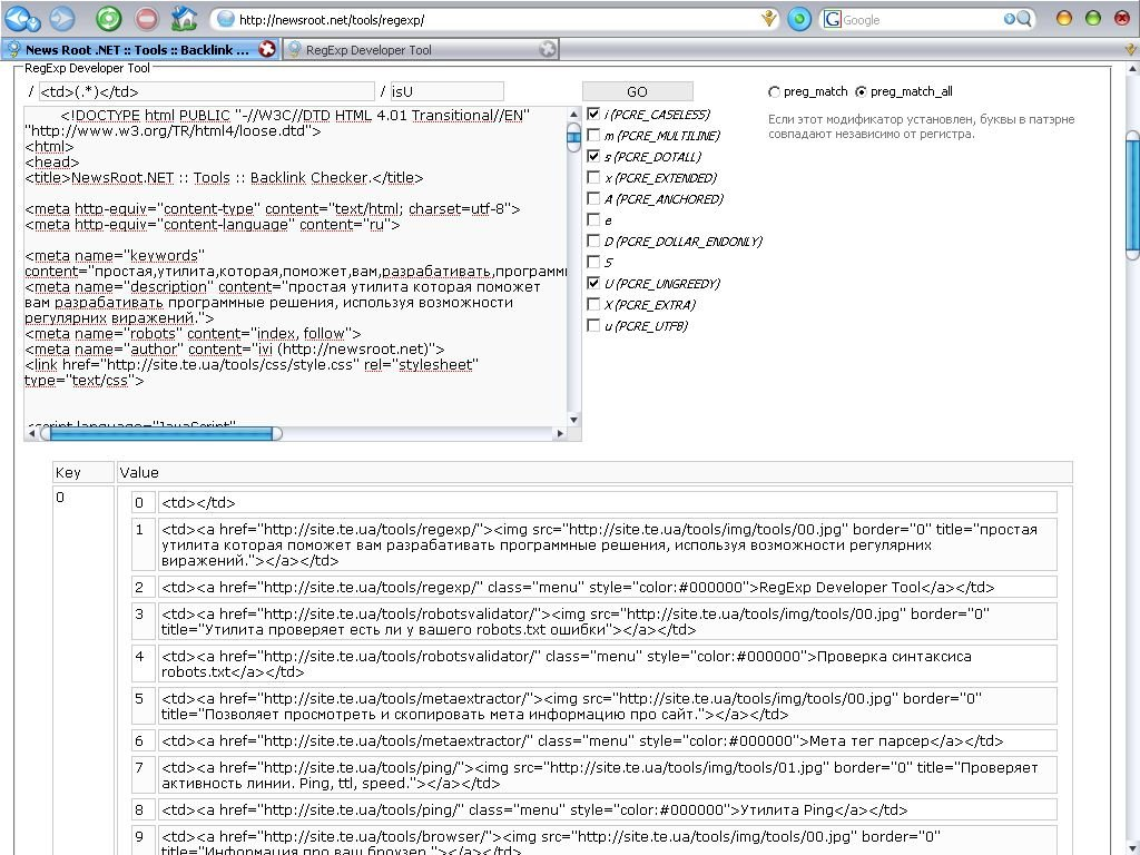 RegExp Developer Tool screenshot 1