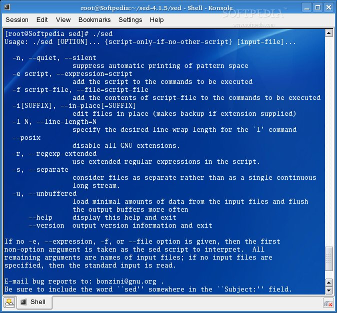 GNU sed screenshot 1