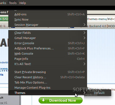 Themes Menu for Firefox screenshot 1