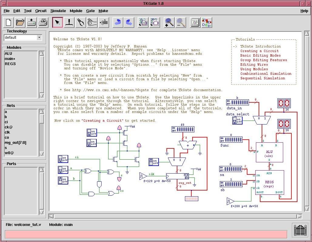 Download Tkgate Linux 187 20 Beta 10 Electrical Circuit Program