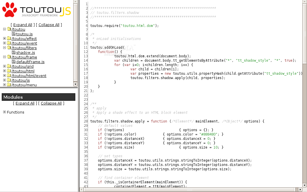 TouTouJS screenshot 2