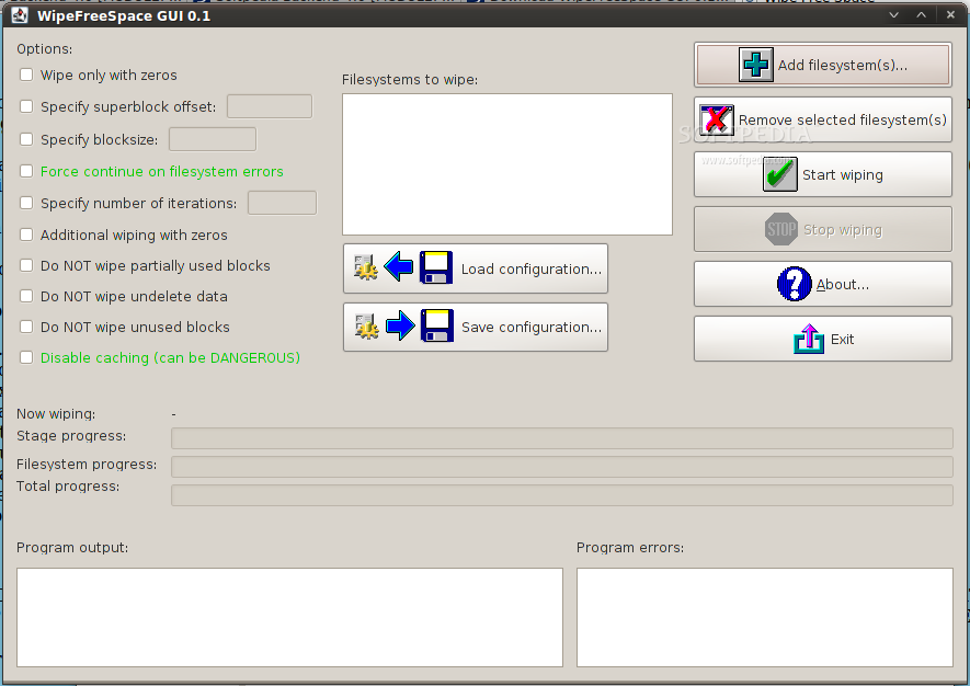 Wipe Free Space GUI screenshot 1