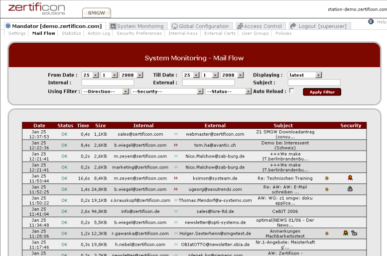 Z1 SecureMail Gateway screenshot 1