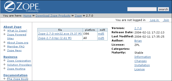 Zope screenshot 1