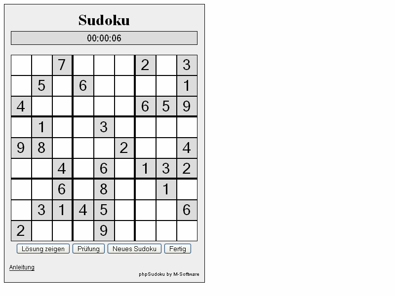 php Sudoku screenshot 1